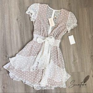 For Love & Lemons White Star Mini Dress Ruffles